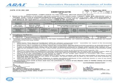 ARAI Certificate